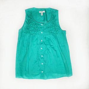 J Crew Teal Button Up Sleeveless Shirt Size 00